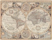 SPEED, John (1552-1629). A New and Accurate Map of the World. London: Thomas Bassett and Richard Chiswell, [1676]. Double-page engraved map with recent hand-colouring (restoration along fold and to three other areas of the map, with loss of the 'S' in 'Southerne' and slightly affecting imprint), 430 x 555mm. State 4 of this 'very desirable collector's item'. Shirley 317.