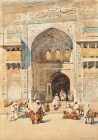 Figures on the steps of the Masjid Wazir Khan, Lahore