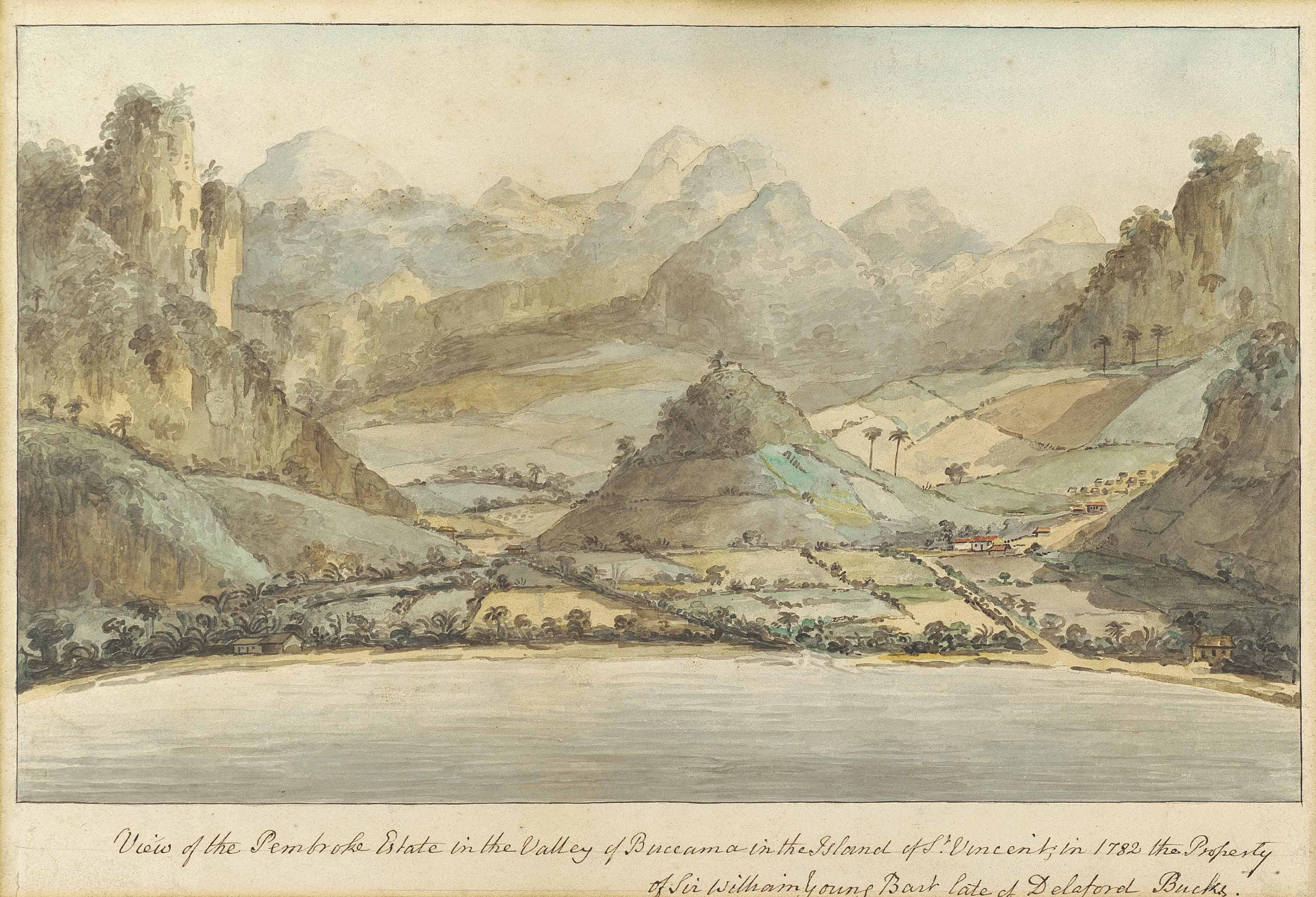 View of the Pembroke Estate in the Valley of Buccama in the Island of St. Vincent, in 1782 the Property of Sir William Young Bart late of Delaford Bucks.