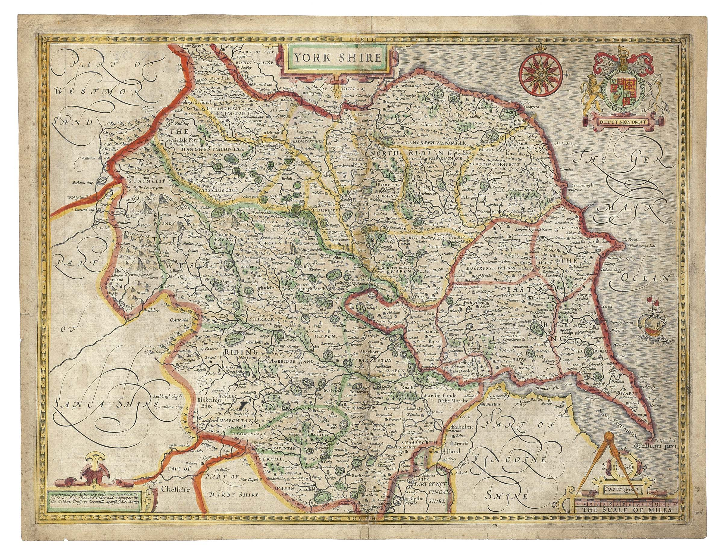 SPEED, John (1522-1629). Yorkshire. London: Roger Rea the Elder and Younger: [1650]. Double-page engraved map with contemporary hand colouring (slightly soiled and rubbed along fold, short marginal tear at foot).