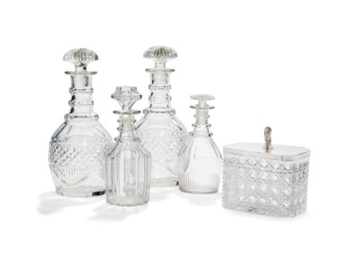 FOUR CUT-GLASS DECANTERS AND S