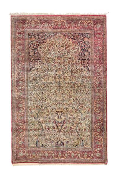 A very fine silk Kashan prayer