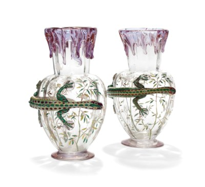 A PAIR OF ENAMELLED CLEAR-GLAS