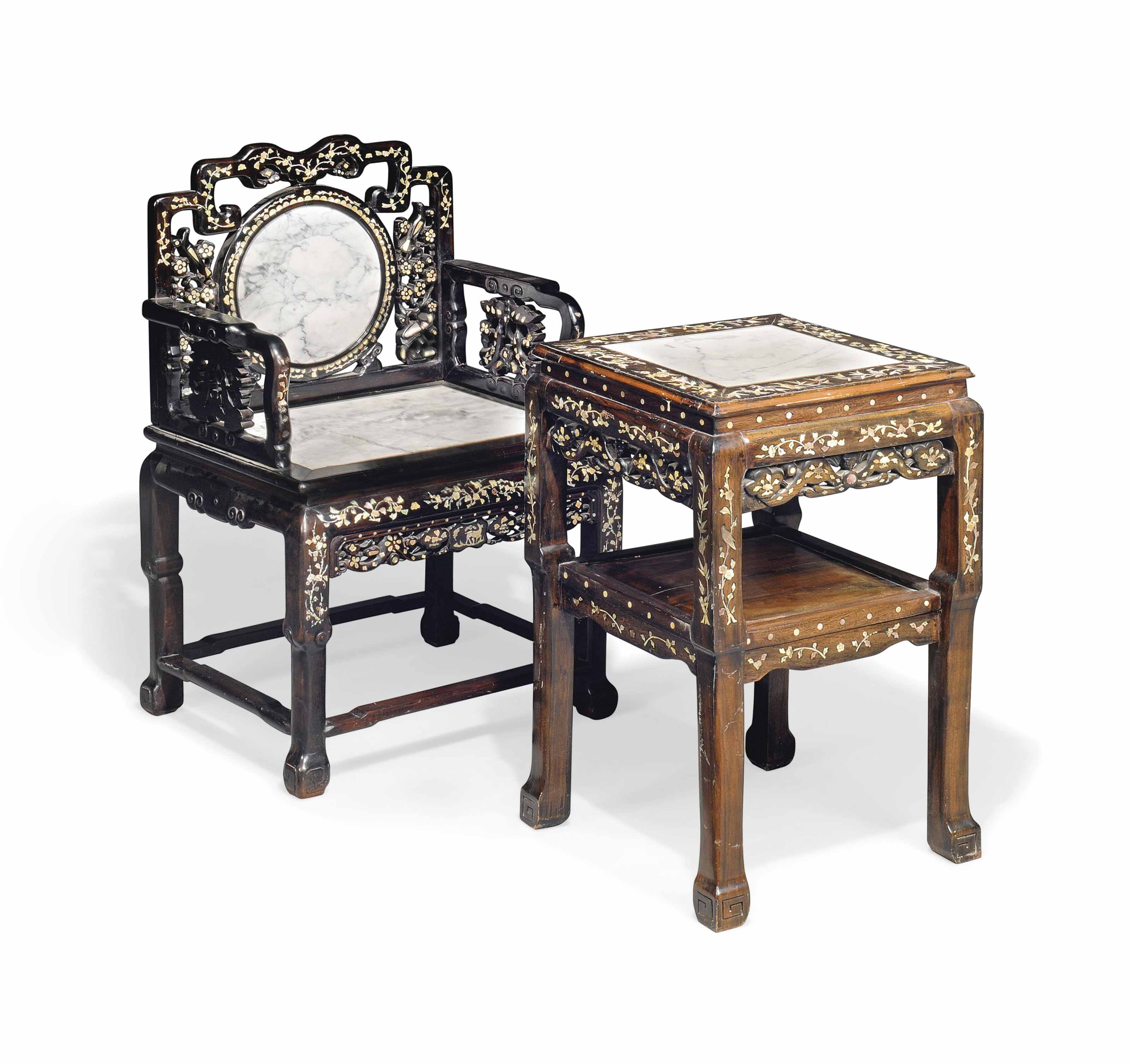 A Chinese Mother Of Pearl Inlaid And Marble Inset Hardwood Armchair