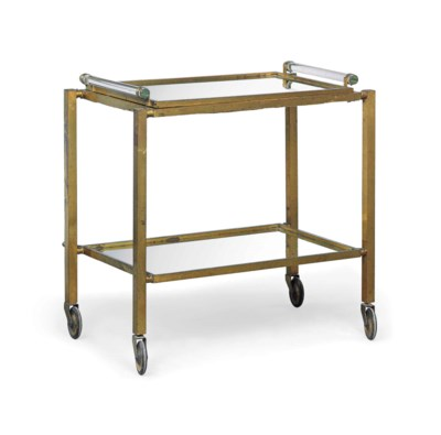 A GILT-METAL MIRRORED TROLLEY