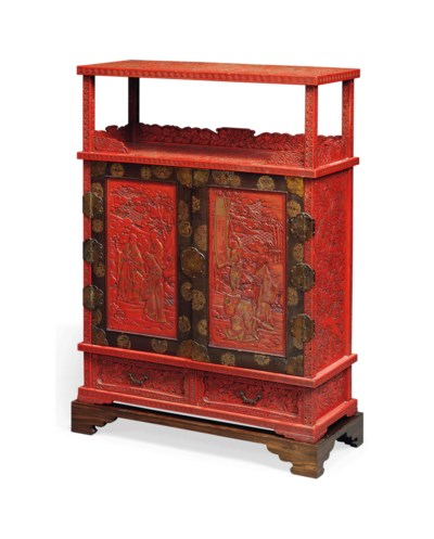 A JAPANESE RED LACQUER AND BRA