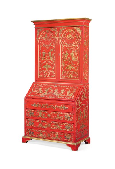 A RED-PAINTED AND GILT BUREAU