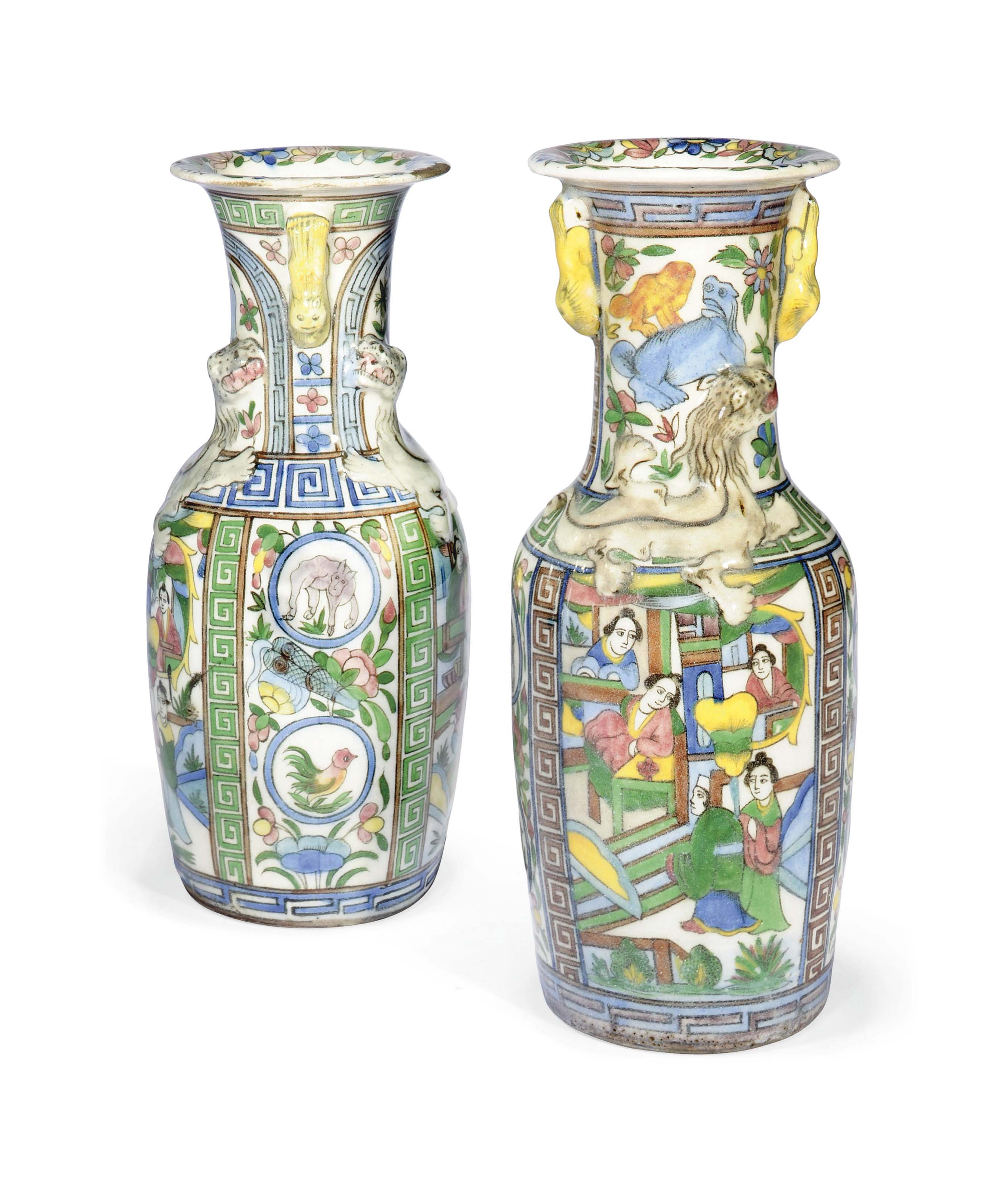TWO QAJAR CHINESE-STYLE POTTERY VASES