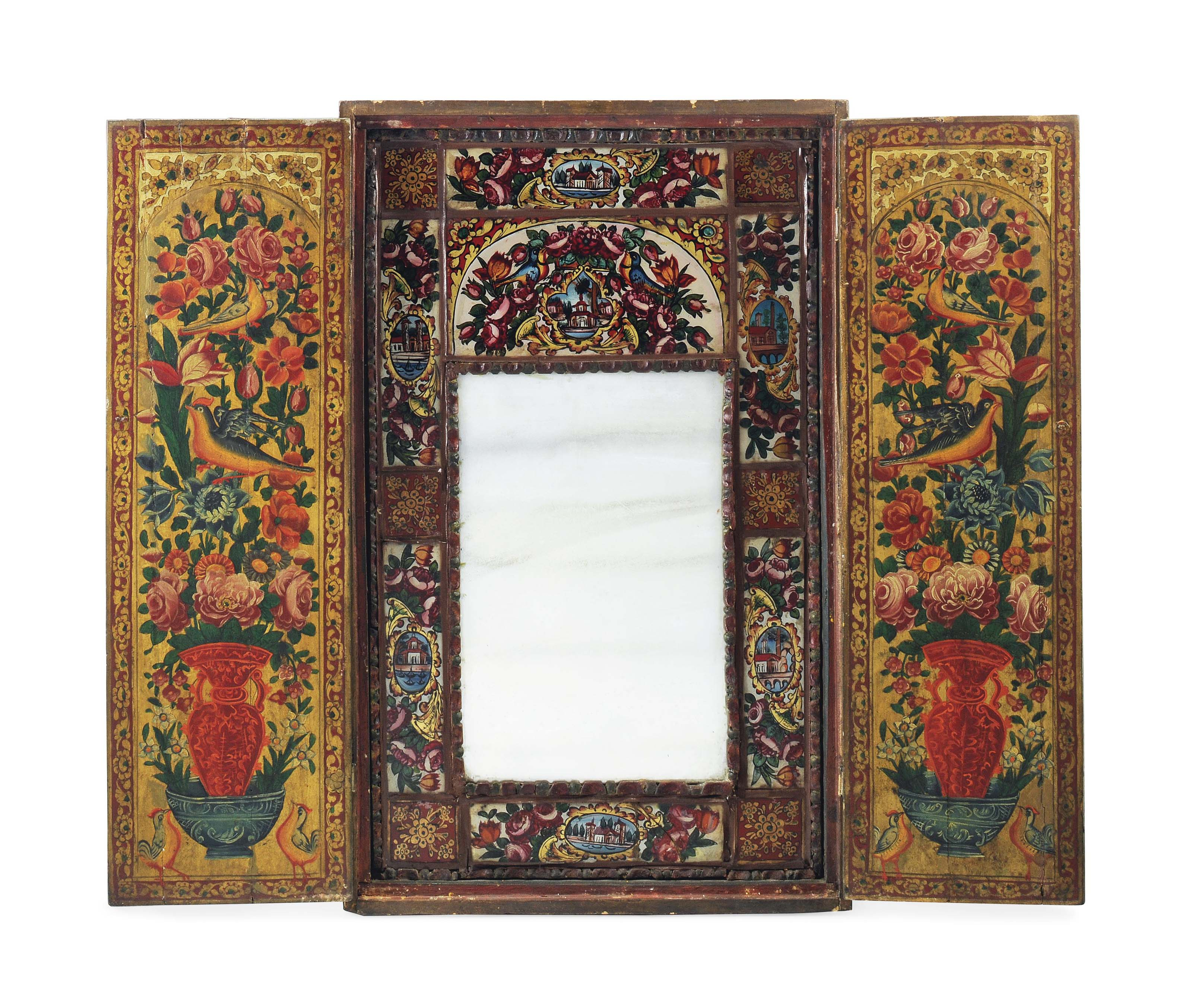 A QAJAR POLYCHROME PAINTED WOODEN MIRROR