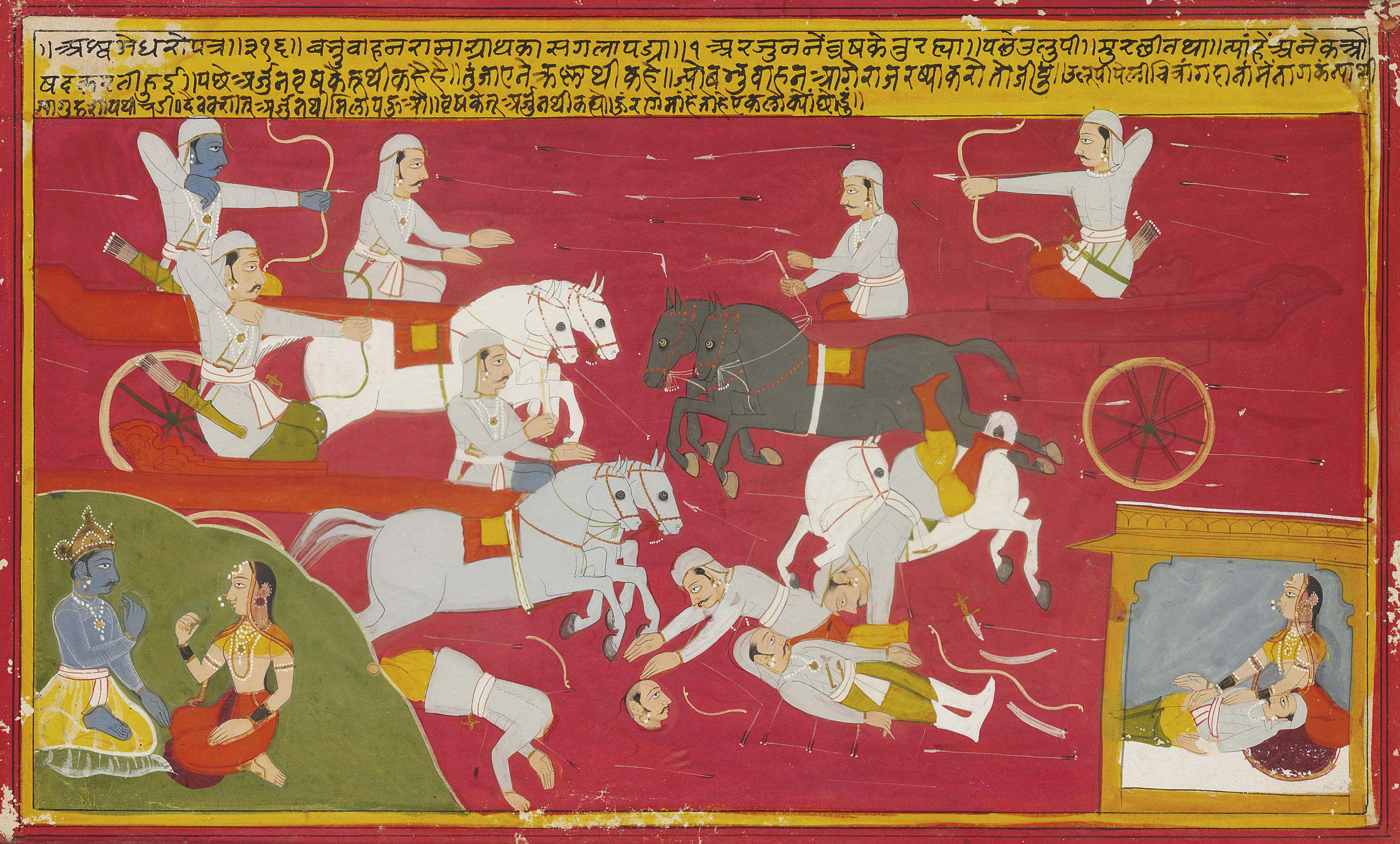 TWO LARGE MINIATURES FROM AN INDIAN EPIC | MEWAR, INDIA