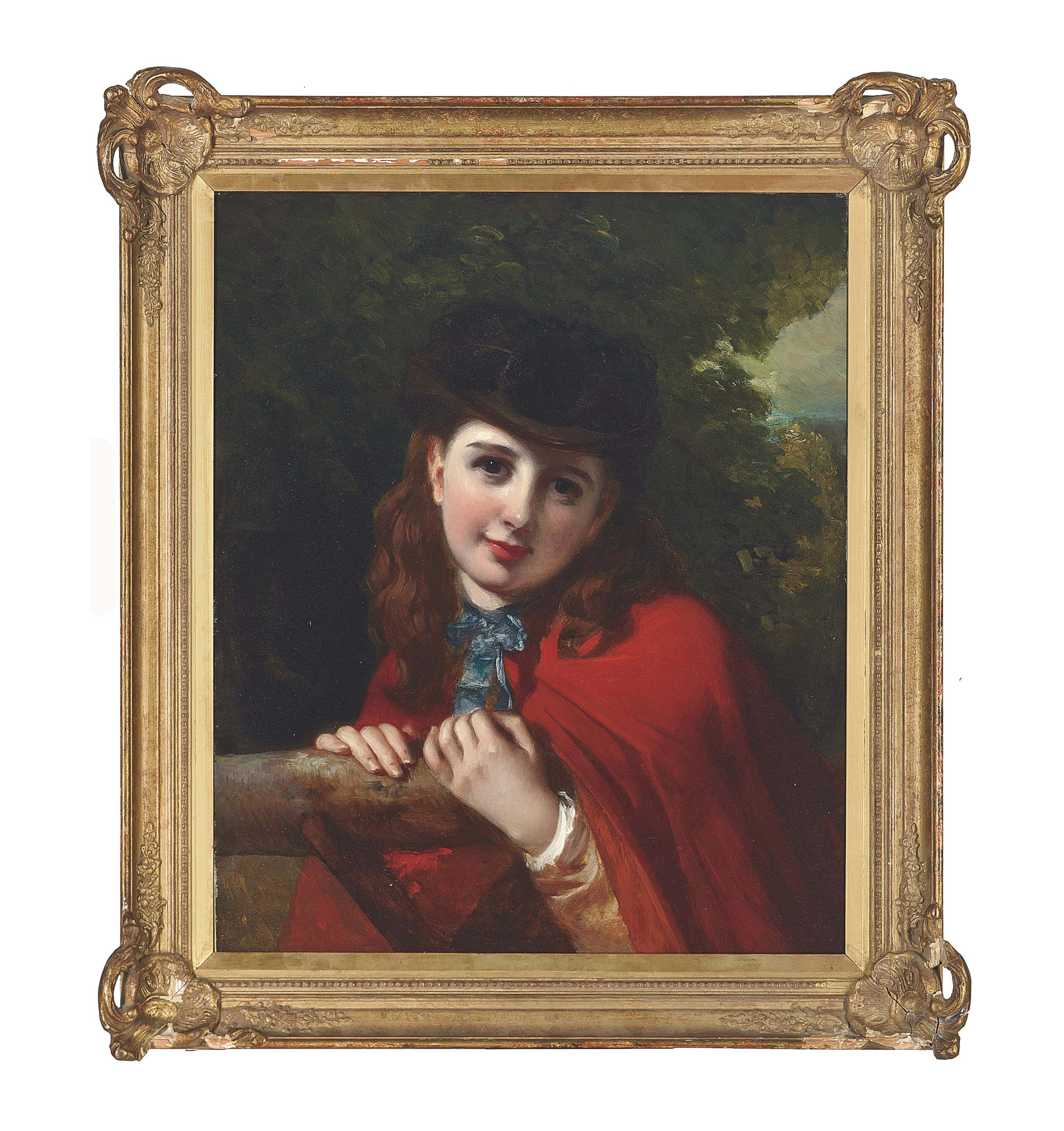 Portrait of a young girl in a red cloak