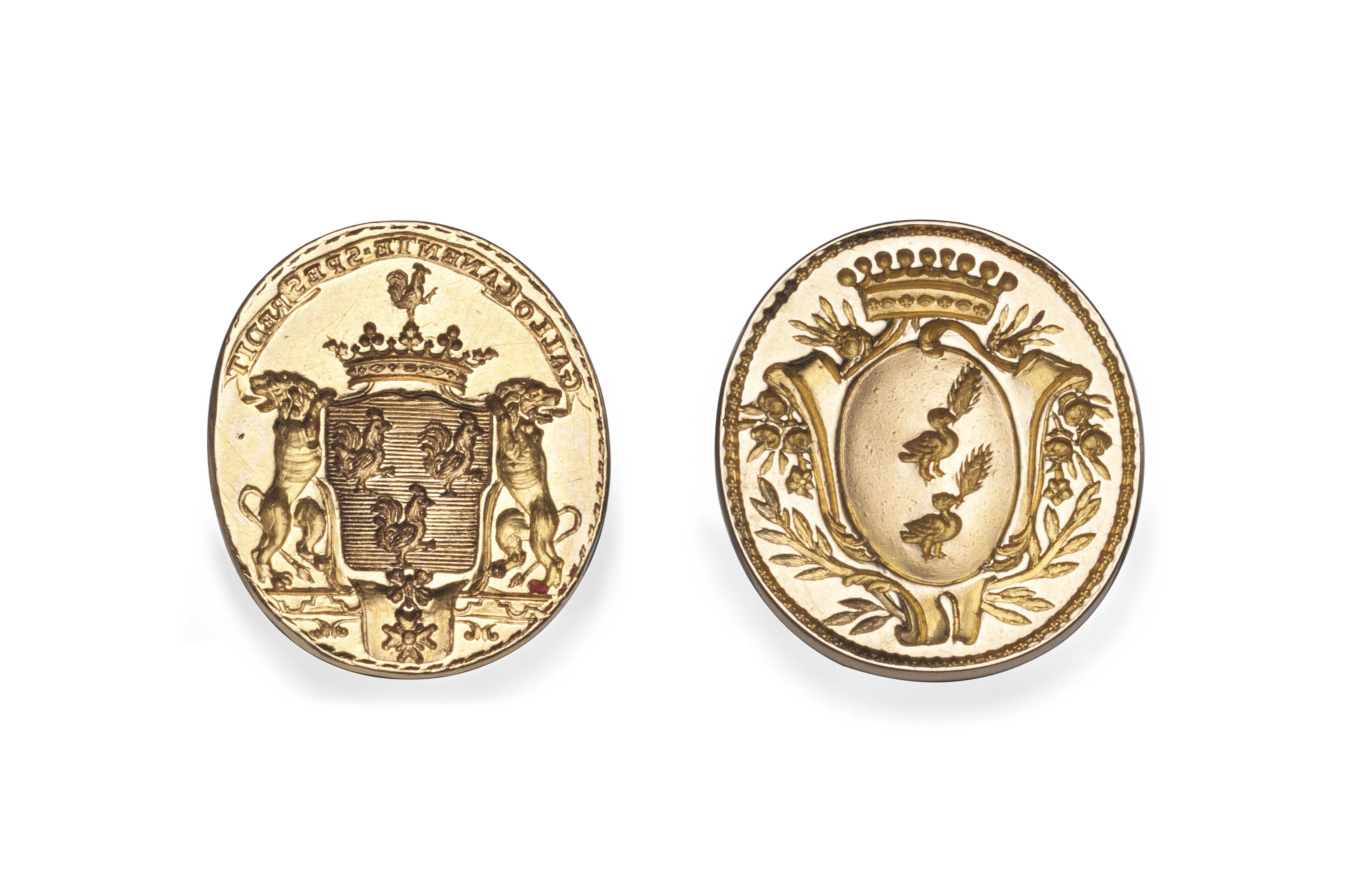 TWO LATE 18TH CENTURY FRENCH GOLD FOB SEALS