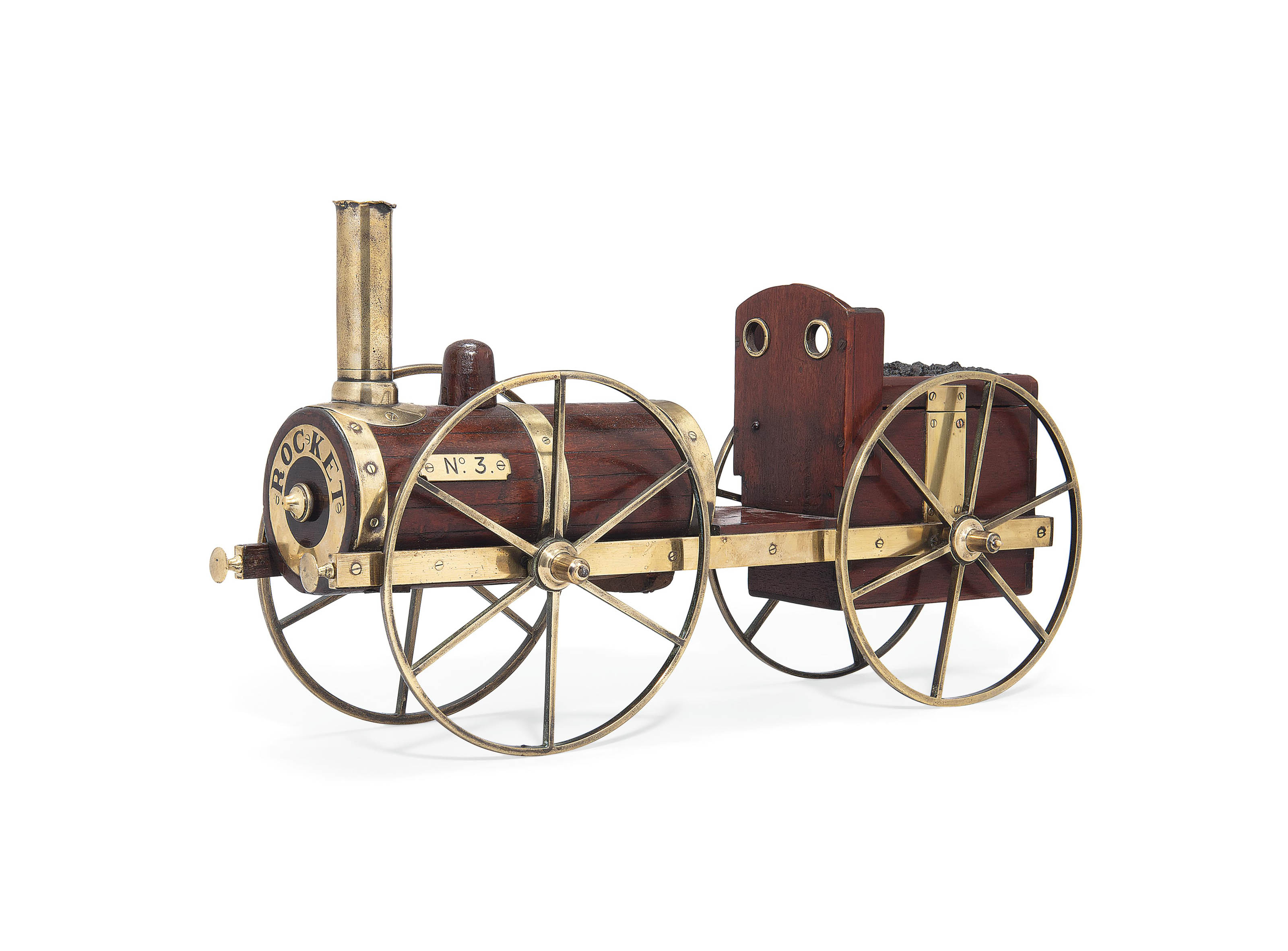AN ENGLISH MAHOGANY AND BRASS NOVELTY TOBACCO BOX IN THE FORM OF STEPHENSON'S ROCKET
