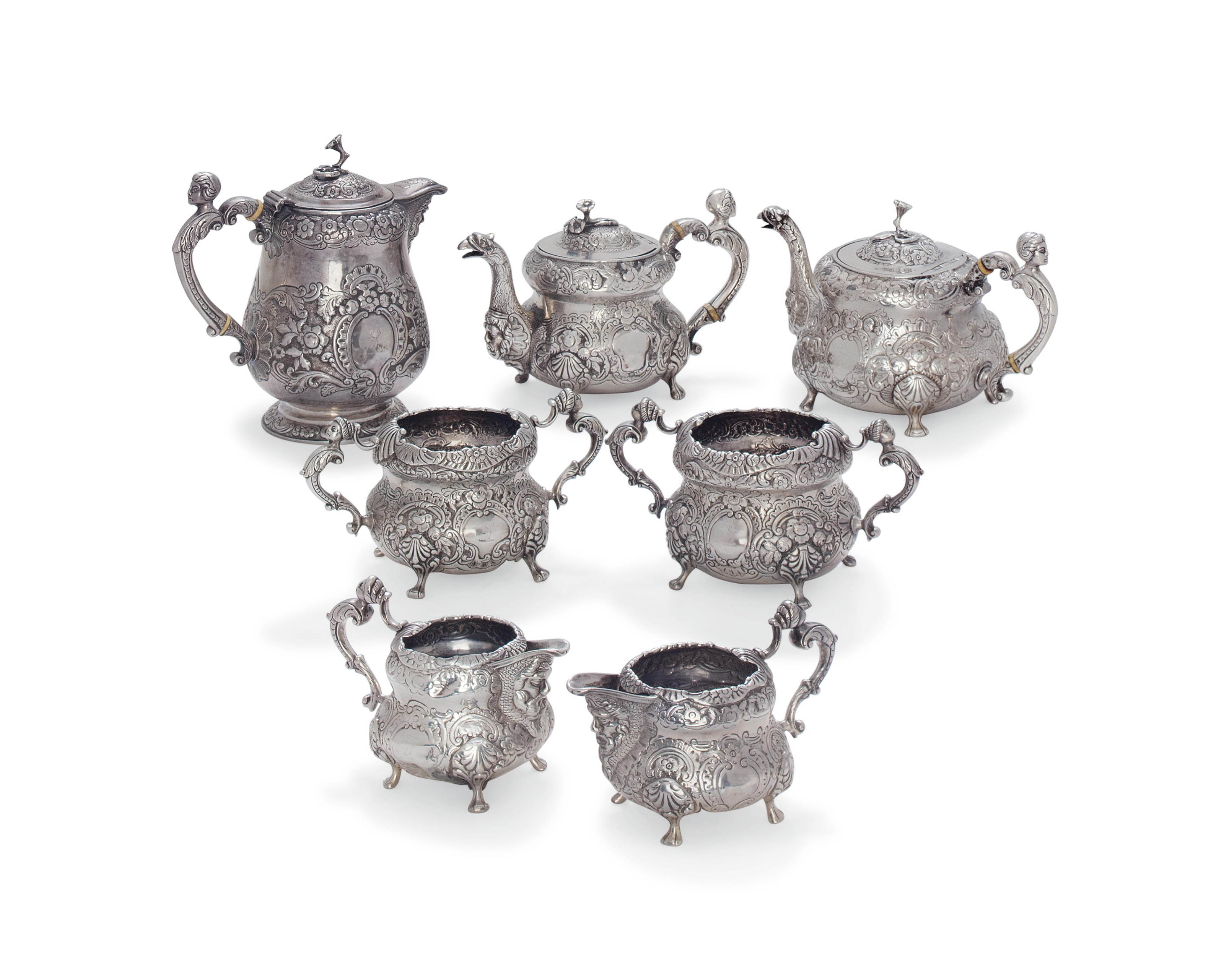 A GEORGE III IRISH SEVEN-PIECE SILVER TEA SERVICE