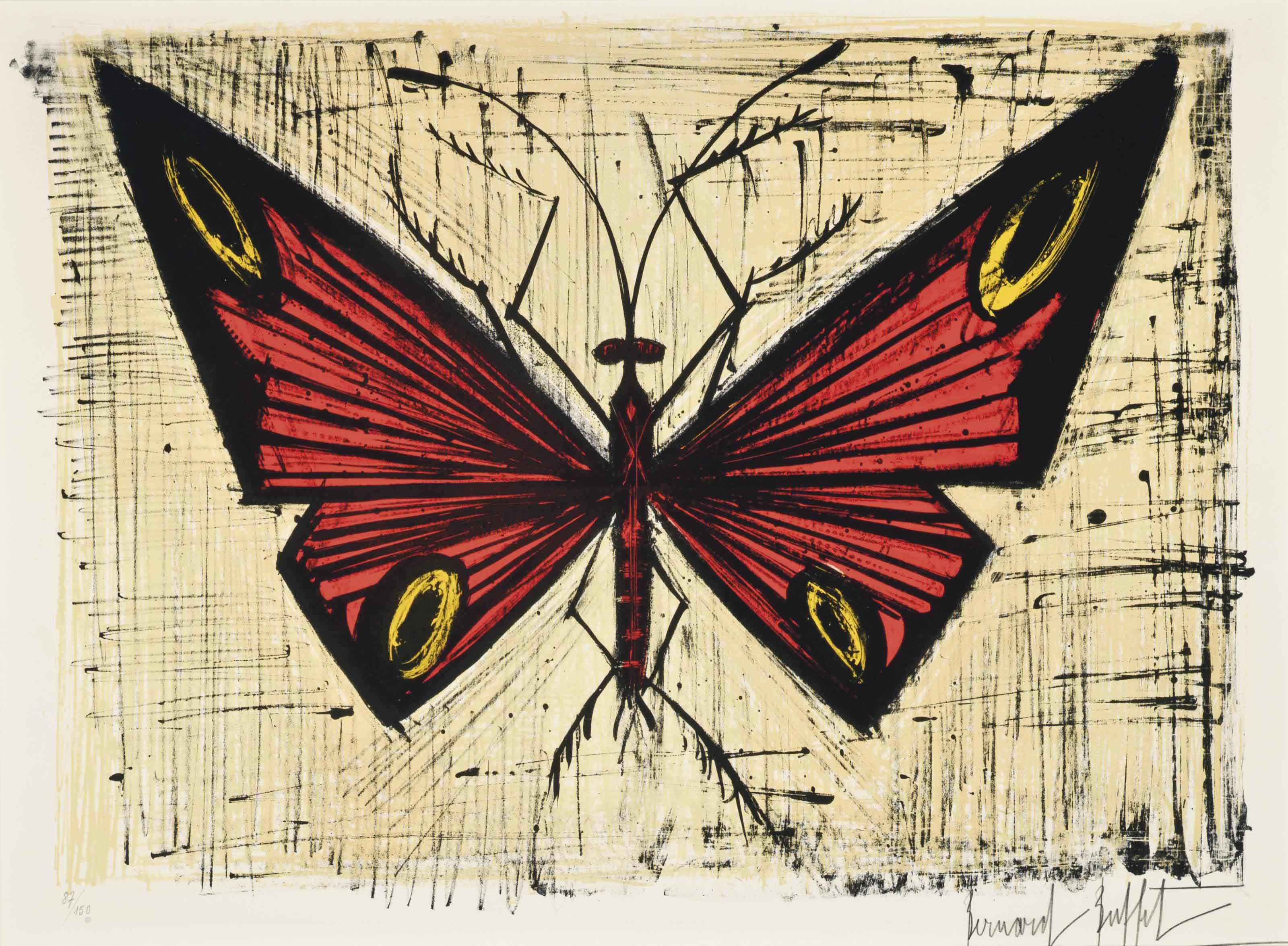 Swell Bernard Buffet 1928 1999 The Red And Yellow Butterfly Beutiful Home Inspiration Ponolprimenicaraguapropertycom