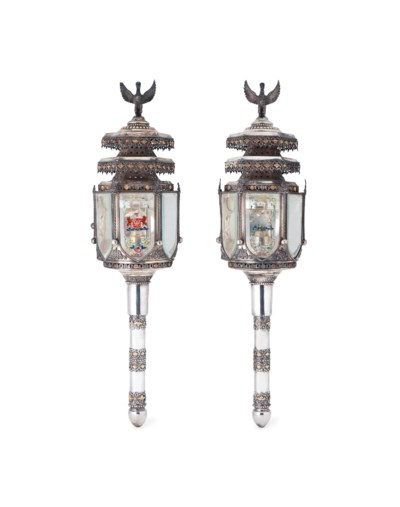 A PAIR OF SILVERED LANTERNS MA