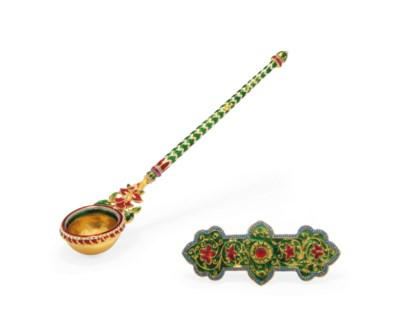 AN ENAMELLED GOLD SPOON AND AN