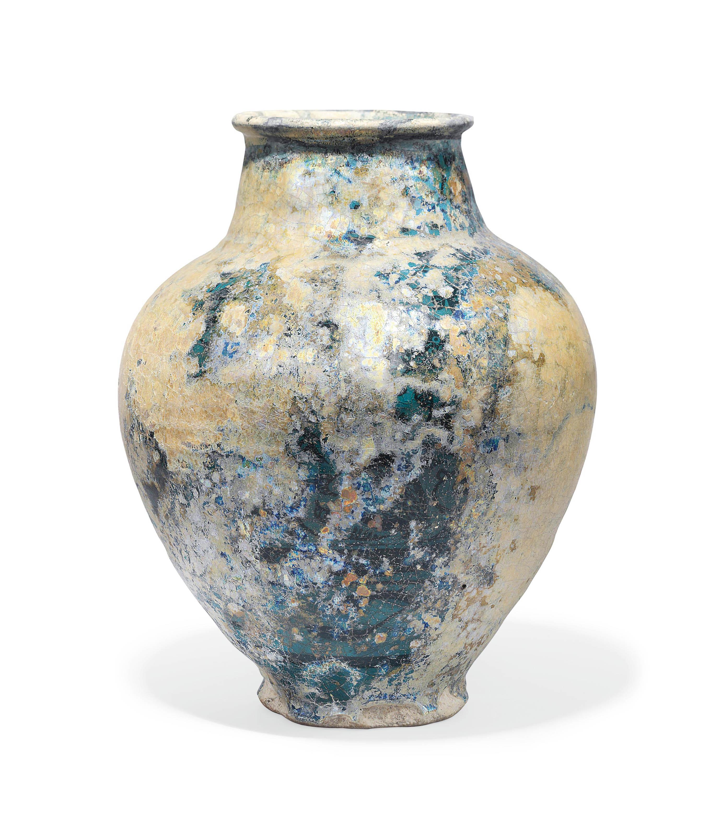 A Large Turquoise Blue Glazed Pottery Vase Kashan Iran