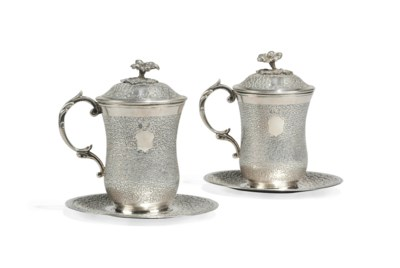 TWO OTTOMAN SILVER SAHLEP CUPS