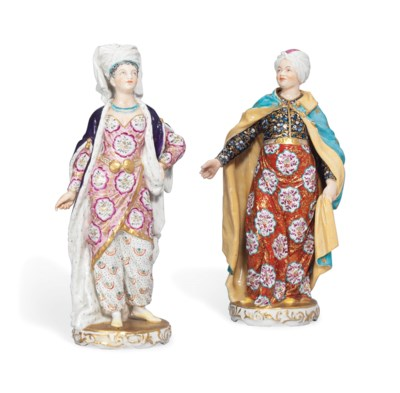 TWO DERBY FIGURES OF A SULTAN