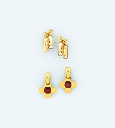 A pair of garnet-set earrings,
