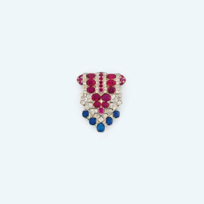 An Art Deco sapphire, ruby and