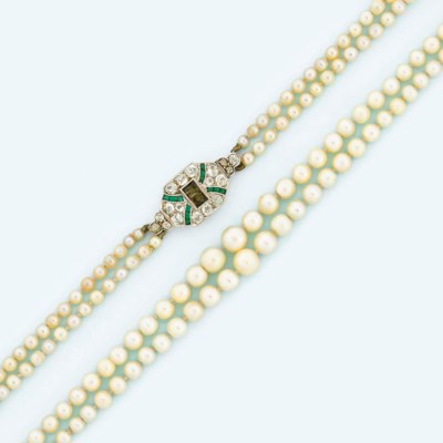 A two-strand natural pearl nec