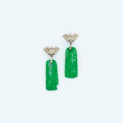 A pair of Art Deco jade and di