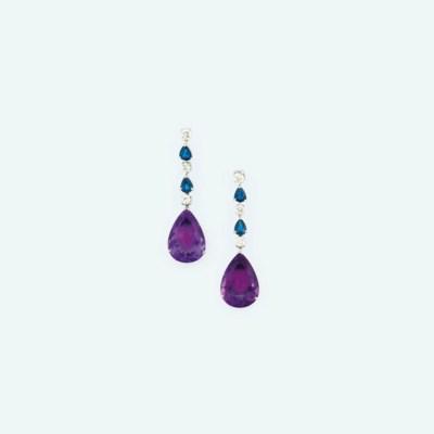 A pair of amethyst, sapphire a