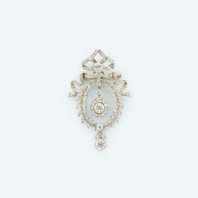 A Belle Epoque diamond brooch/