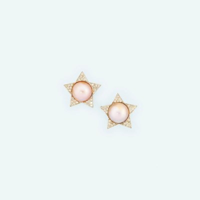 A pair of mabé cultured pearl