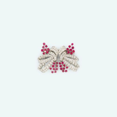 A ruby and diamond double-clip