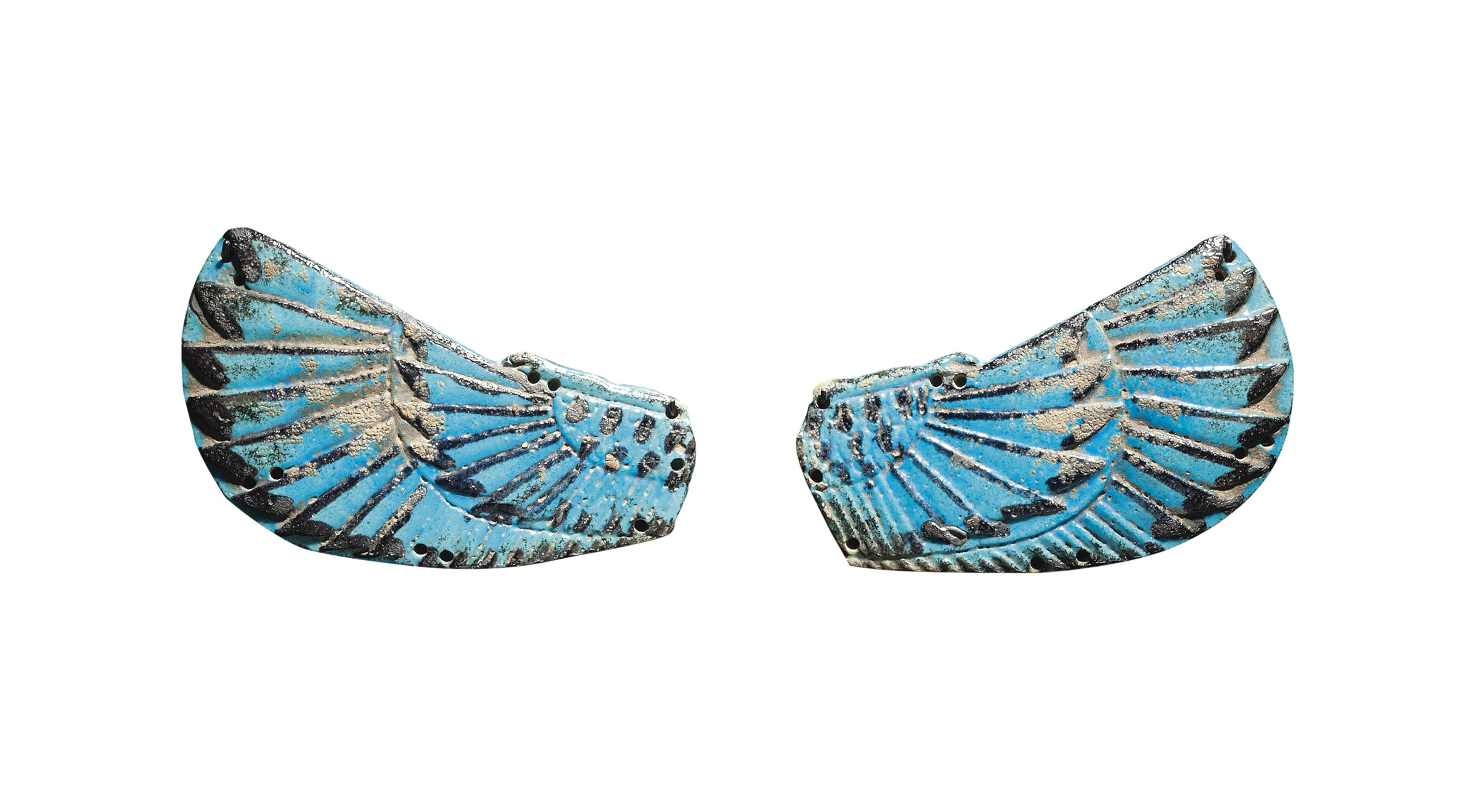 A PAIR OF EGYPTIAN FAIENCE WINGS OF NUT