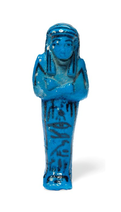 AN EGYPTIAN BRIGHT BLUE FAIENC