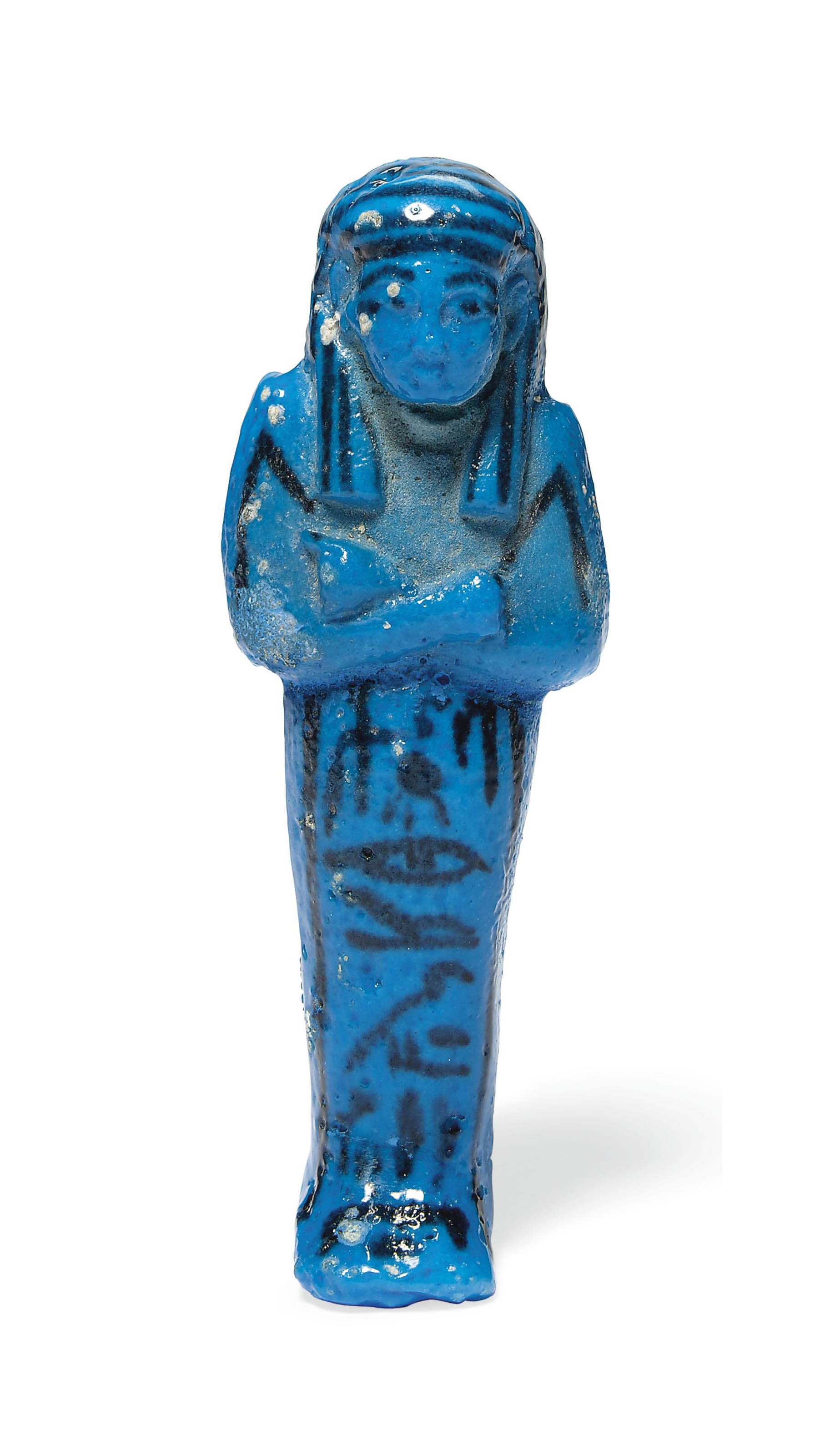 AN EGYPTIAN BRIGHT BLUE FAIENCE SHABTI FOR TAYUHERET