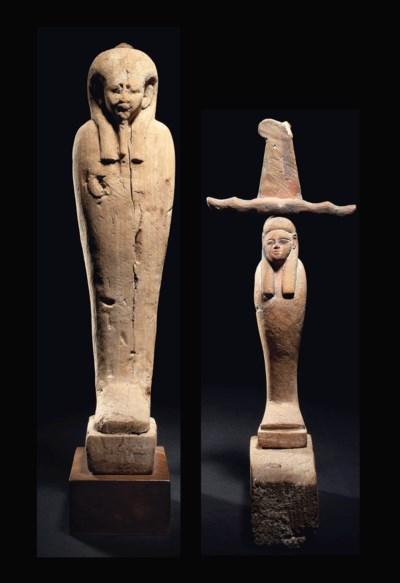 TWO EGYPTIAN WOOD PTAH-SOKAR-O