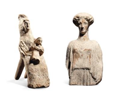 TWO GREEK TERRACOTTA FEMALE FI