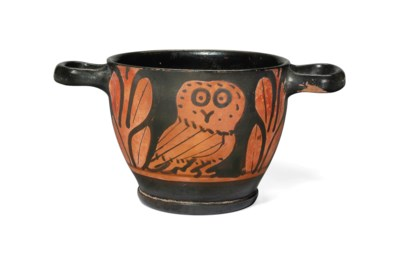 A GREEK RED-FIGURED OWL SKYPHO