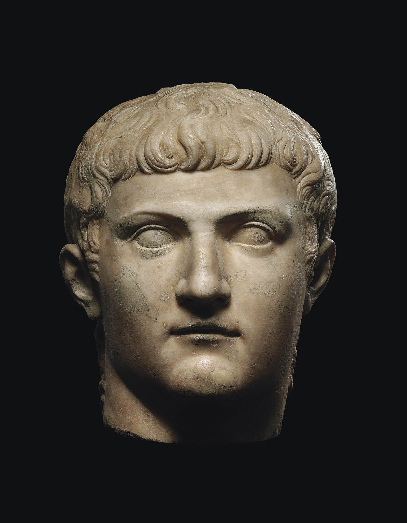 A ROMAN MARBLE PORTRAIT HEAD OF GERMANICUS