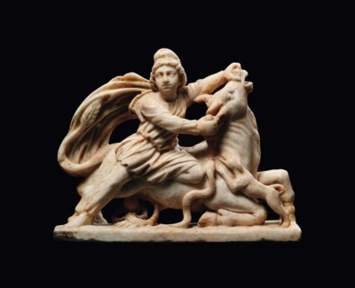 A ROMAN MARBLE GROUP OF MITHRA