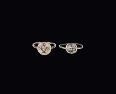 TWO BYZANTINE SILVER RINGS