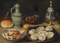 Sweetmeats in a Wanli kraak porcelain bowl, oysters and olives on pewter platters, a roll, an orange, a stoneware jug, a roemer and other vessels on a stone ledge