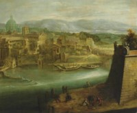A view of a harbour with figures on a shore, St. Peter's and the Church of Santo Spirito in Sassia beyond