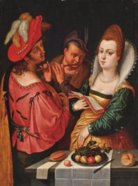 Elegant company music making, a lady with a music book in her right hand, a gentleman playing the lute and another playing a transverse flute