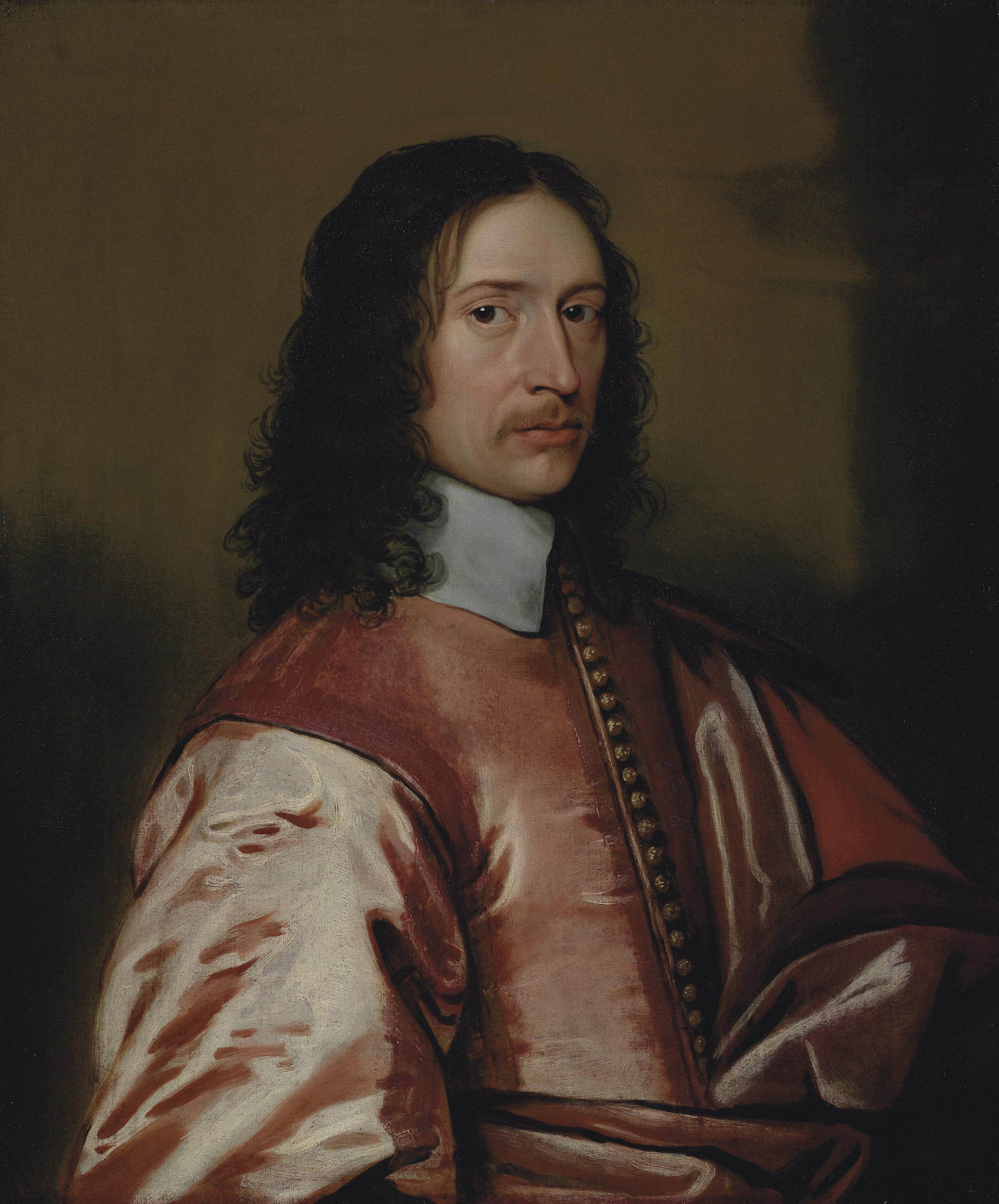 Portrait of Sir Humphrey Style, 1st Baronet (c.1596-1659), half-length, in a red coat with gold buttons