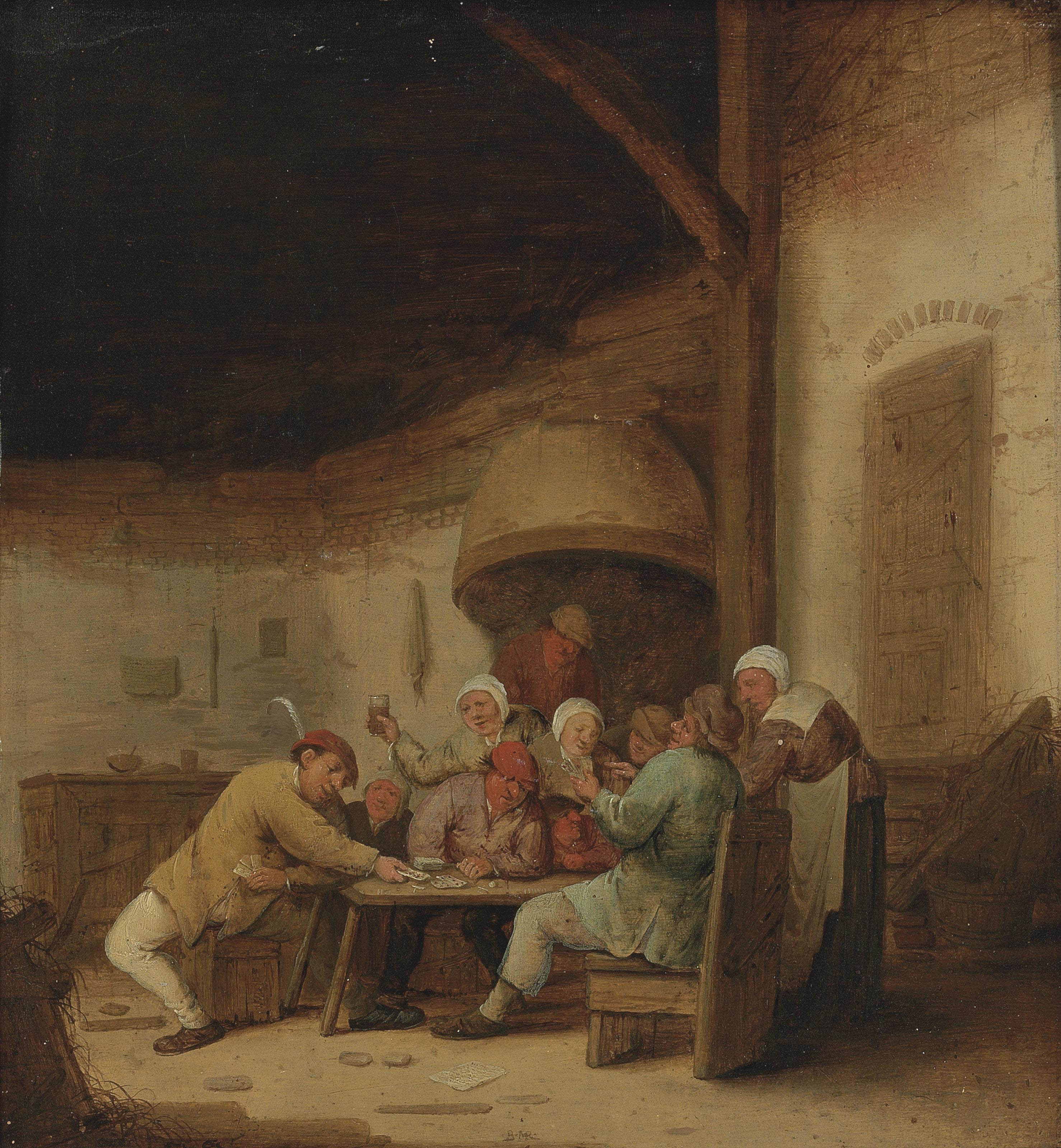 Peasants drinking and playing cards in a tavern
