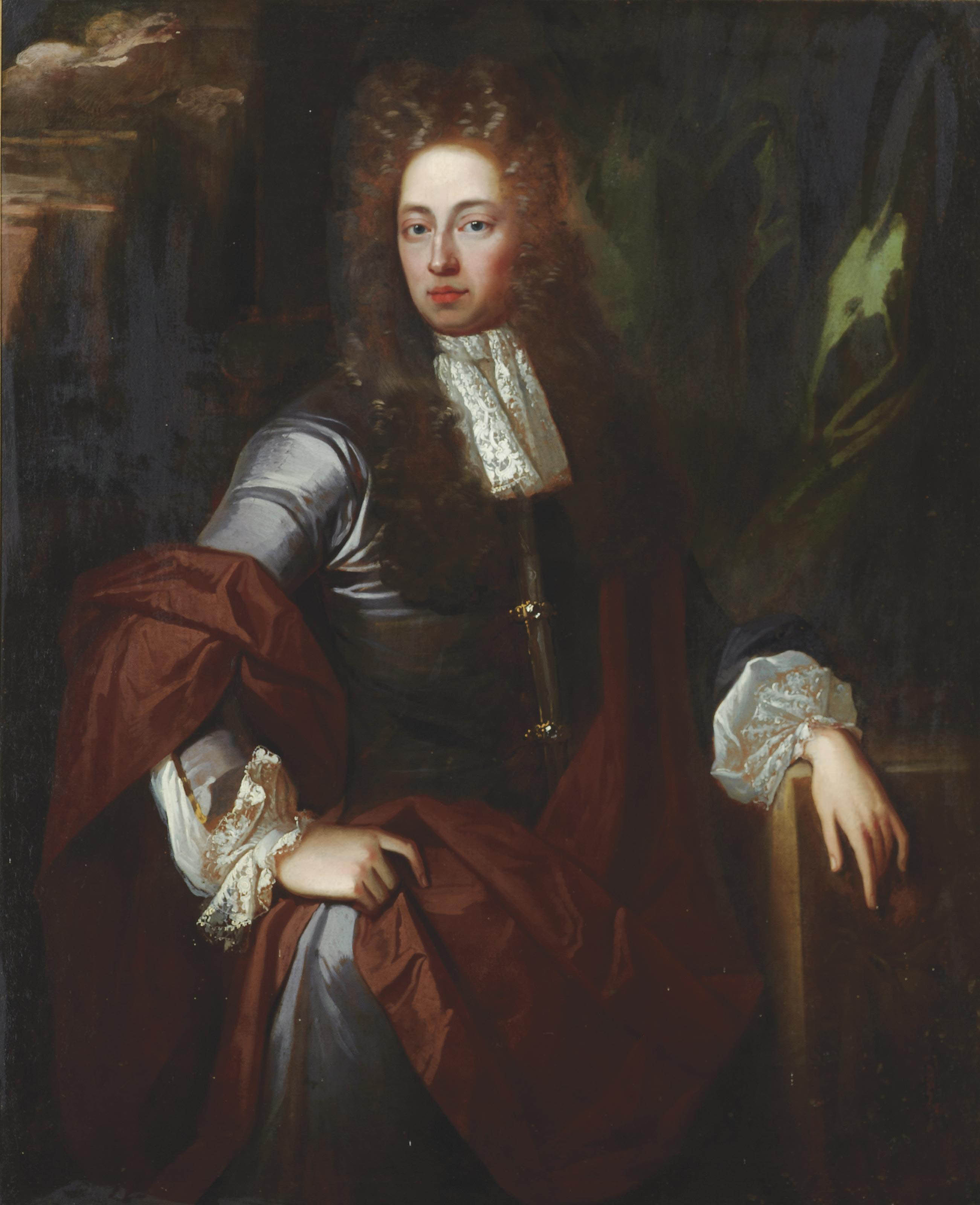 Portrait of a gentleman, three-quarter-length, in a grey coat with lace cuffs and a brown cloak, in a landscape
