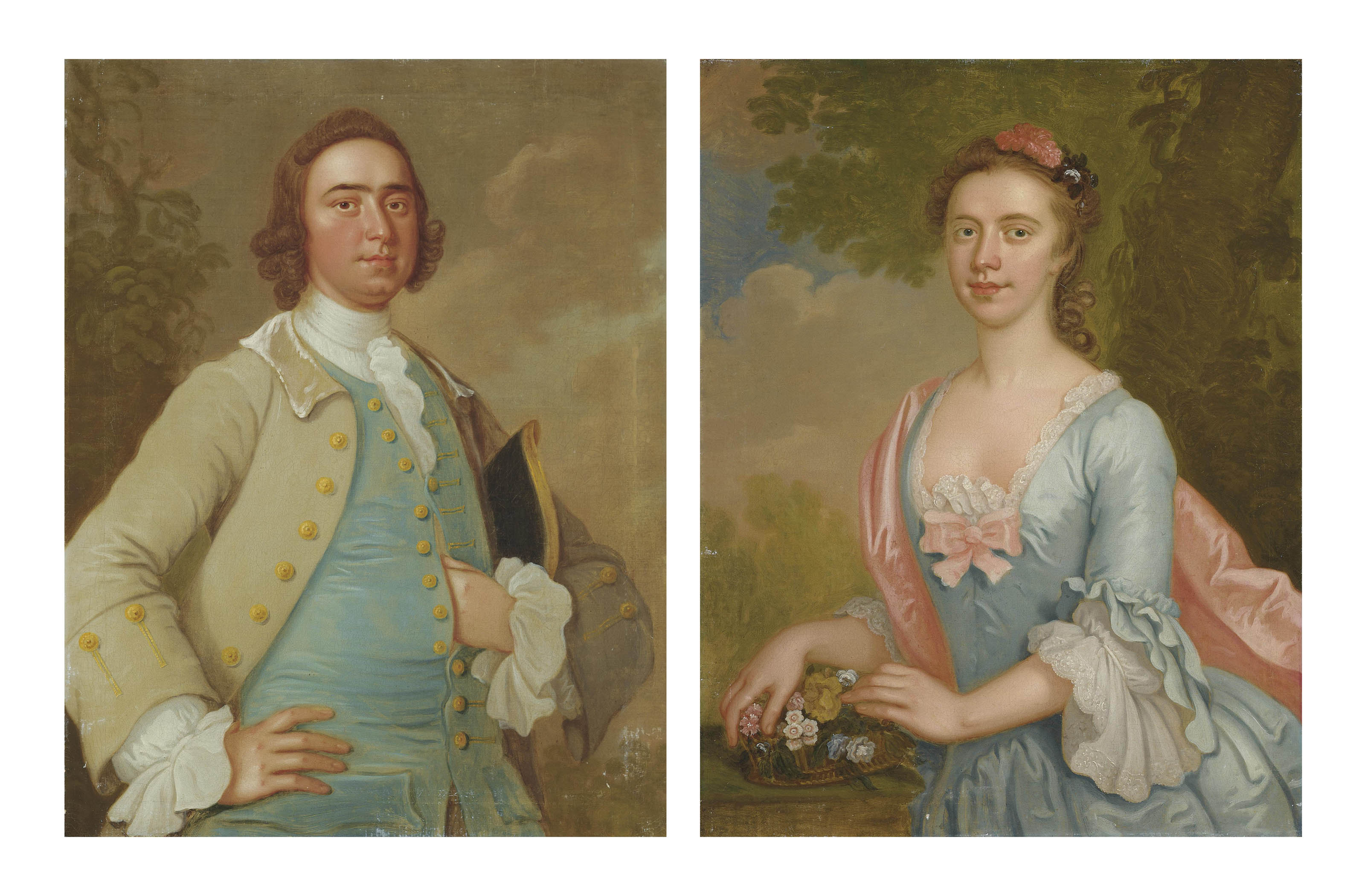 Portrait of a gentleman, half-length, in a grey coat and blue waistcoat, a tricorn hat under his left arm; and Portrait of a lady, half-length, in a blue dress with lace trim and a pink wrap, in a landscape