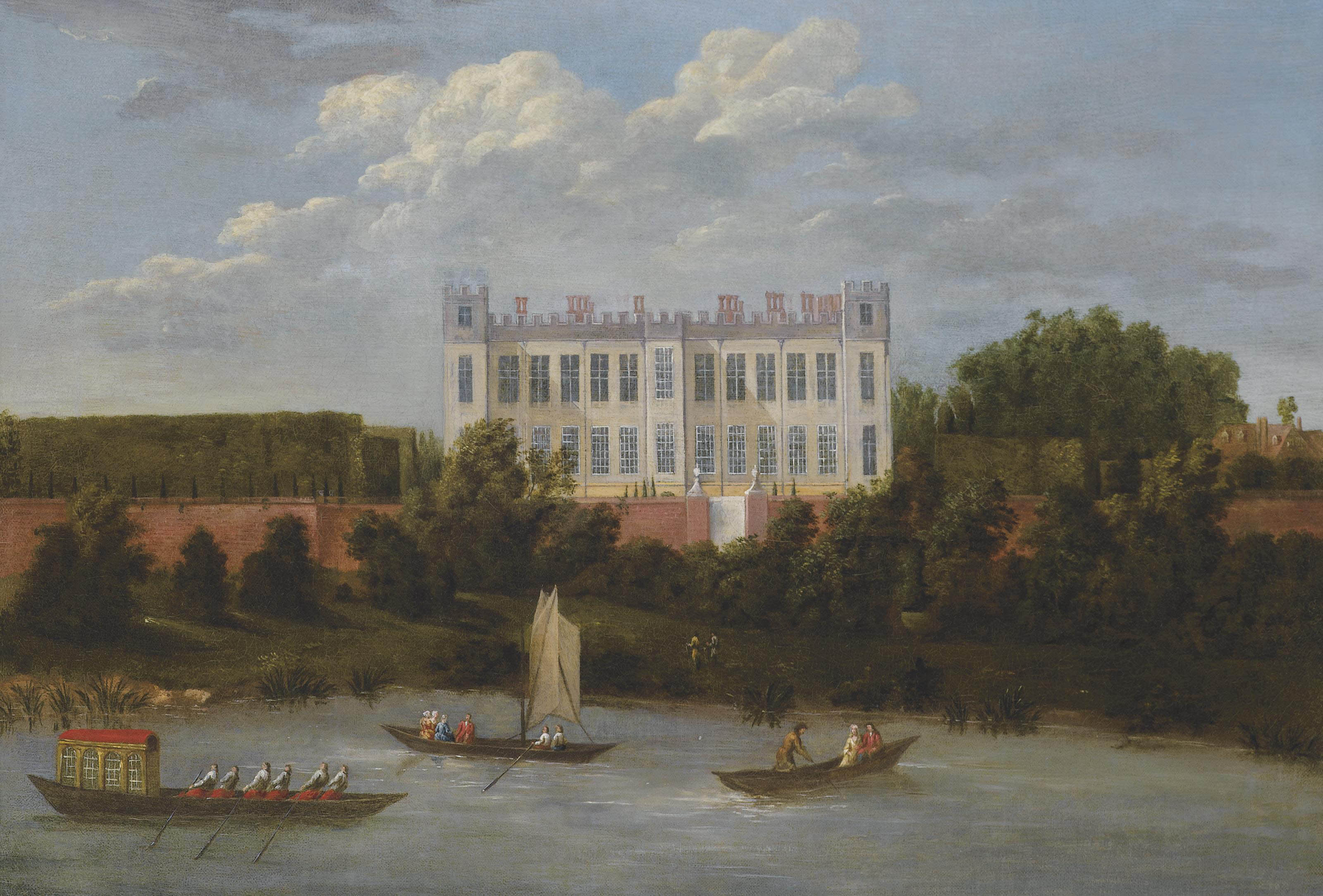 A view of Syon House from the Thames