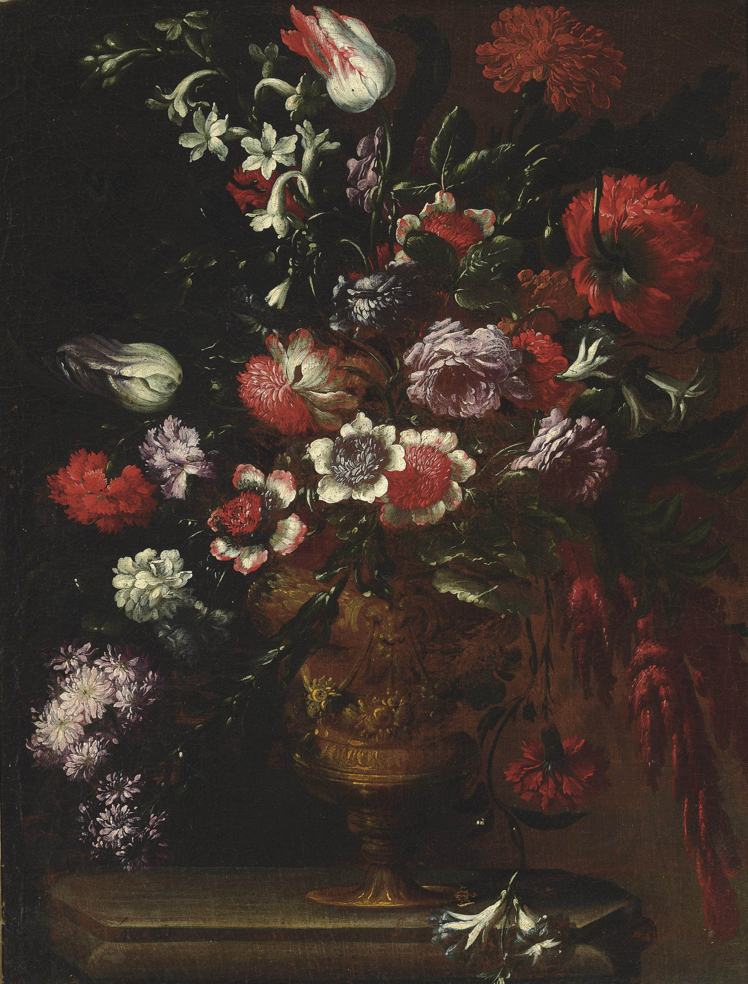 Roses, carnations, tulips, poppies and other flowers in an urn on a ledge